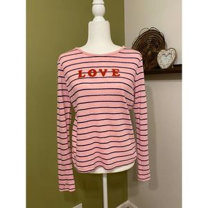 Lou & Gray LOVE Valentines Day shirt pink stripe